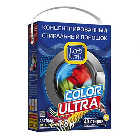 Концентрированный стиральный порошок color ultra 1,8 кг top house стиральный порошок top house концентрированный суперэффективный автомат 1 кг 804059