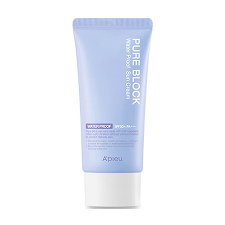 Купить Водостойкий солнцезащитный крем для лица pure block water proof natural sun cream spf50 pa+++ a'pieu, A'PIEU