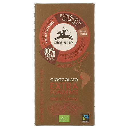 Шоколад горький с зернами какао alce nero