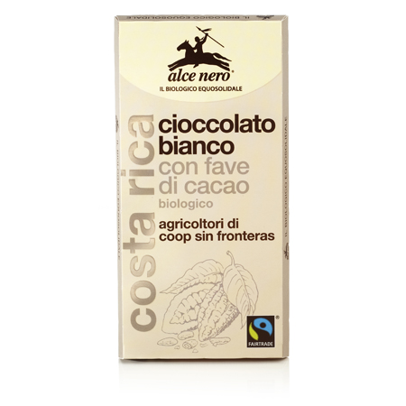 Белый шоколад с зернами какао alce nero