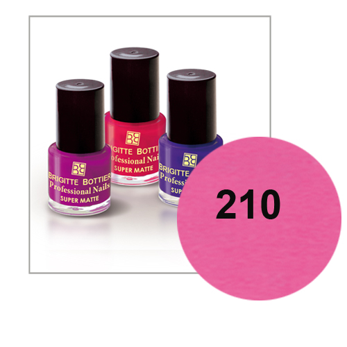 Лак для ногтей с матовым эффектом (оттенок 210, ярко-розовый) prof nails matte brigitte bottier