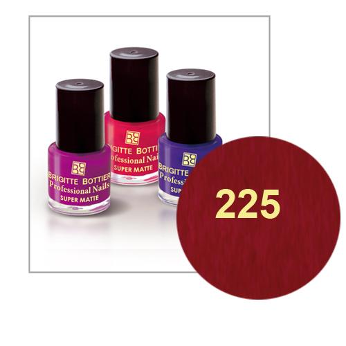 Лак для ногтей с матовым эффектом (оттенок 225, бордовый перламутр) prof nails matte brigitte bottier