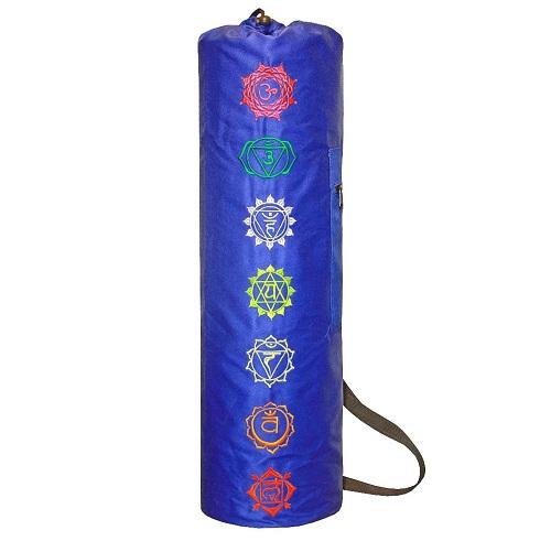 Чехол для коврика пробуждение чакр саржа (синий) (Yoga)