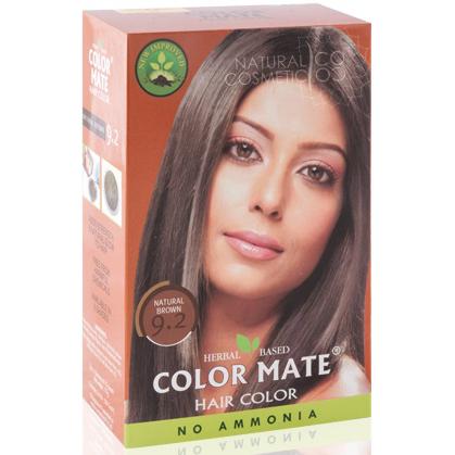 Henna Industries Pvt Ltd Натуральная краска для волос на основе хны color mate (тон 9.2, натуральный коричневый) без аммиака