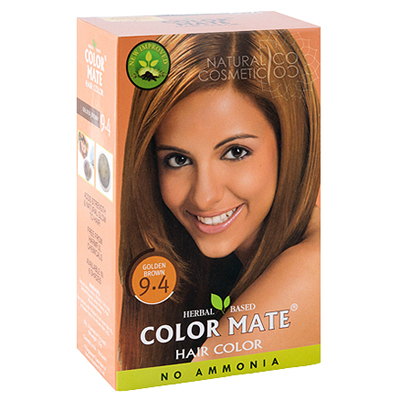 Henna Industries Pvt Ltd Натуральная краска для волос на основе хны color mate (тон 9.4, золотисто-коричневый) без аммиака