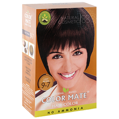 Henna Industries Pvt Ltd Натуральная краска для волос на основе хны color mate (тон 9.7, светло-коричневый) без аммиака