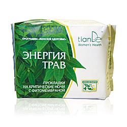 Гигиенические ночные прокладки на критические дни с тестом для контроля микрофлоры энергия трав тианде (ТианДе)
