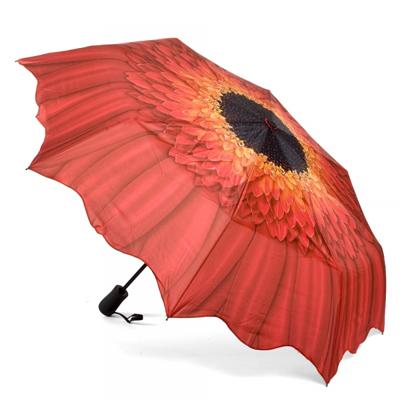 Складной зонт автомат цветок красная гербера galleria (Galleria)