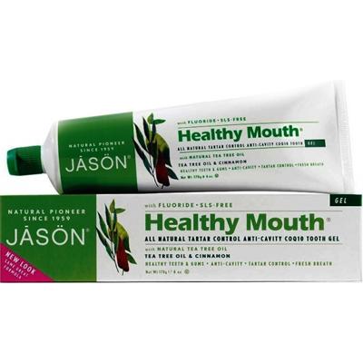 Гелевая зубная паста healthy mouth чайное дерево с фтором и соq10 jason (Jason)