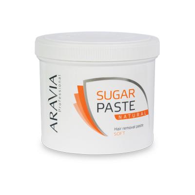 Сахарная паста для депиляции натуральная мягкой консистенции aravia professional