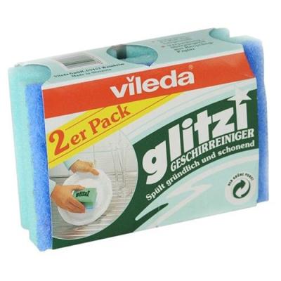 Губка для посуды глитци 2 шт vileda