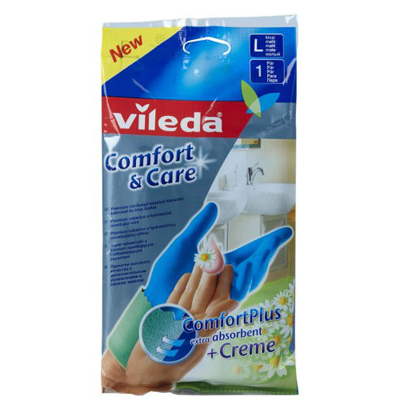 Перчатки комфорт с кремом для чувствительной кожи рук размер l vileda