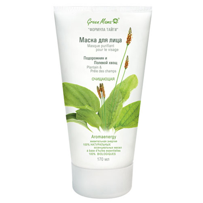Маска для лица очищающая подорожник и полевой хвощ green mama (Green Mama)