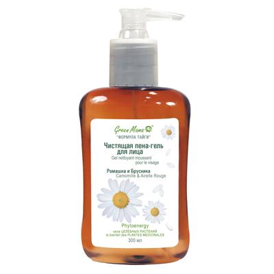 Чистящая пена-гель для лица ромашка и брусника green mama