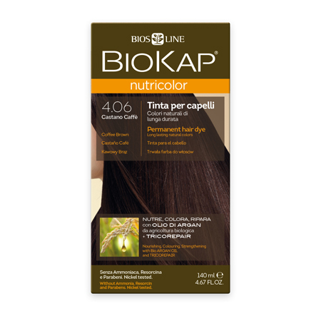 Стойкая натуральная крем-краска для волос biokap nutricolor (цвет кофейно-коричневый) biosline