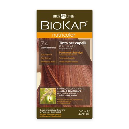 Стойкая натуральная крем-краска для волос biokap nutricolor (цвет медный блондин) biosline