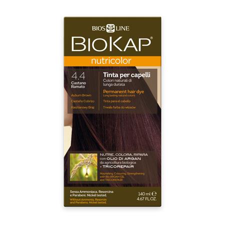 Стойкая натуральная крем-краска для волос biokap nutricolor (цвет медно-коричневый) biosline