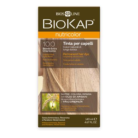 Стойкая натуральная крем-краска для волос biokap nutricolor (цвет золотистый очень светлый блондин) biosline (Biokap)