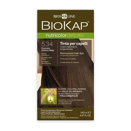 Стойкая крем-краска для чувствительных волос biokap nutricolor delicato (цвет медово-каштановый) biosline (Biokap)