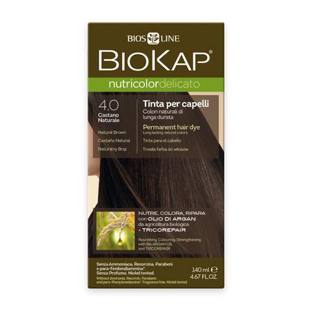Стойкая крем-краска для чувствительных волос biokap nutricolor delicato (цвет коричневый) biosline