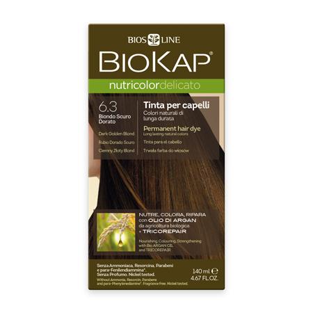 Стойкая крем-краска для чувствительных волос biokap nutricolor delicato (цвет темно-золотистый блондин) biosline