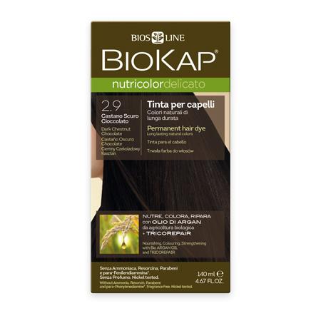 Стойкая крем-краска для чувствительных волос biokap nutricolor delicato (цвет темно-каштановый шоколадный) biosline