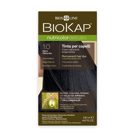 Стойкая крем-краска для чувствительных волос biokap nutricolor delicato (цвет черный натуральный) biosline