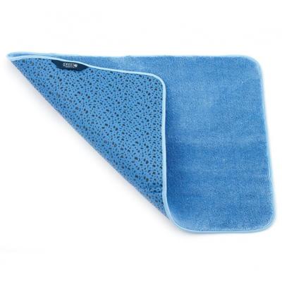 Коврик для ванной комнаты 65х45 см голубой белый кот