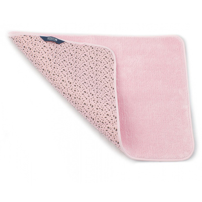 Коврик для ванной комнаты 65х45 см розовый белый кот