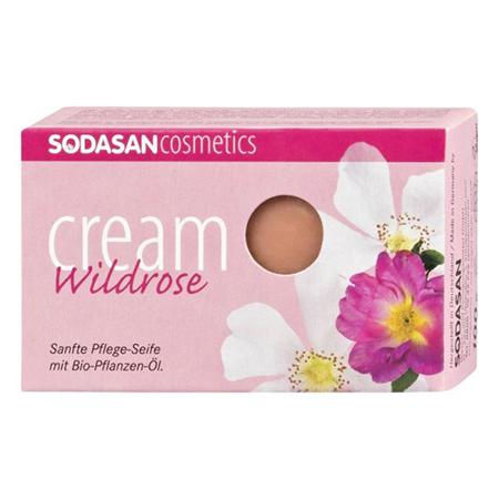 Мыло-крем туалетное твердое глицериновое дикая роза sodasan