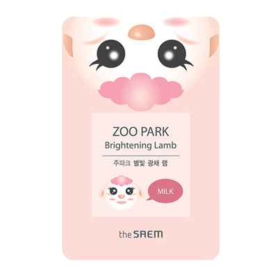 Осветляющая тканевая маска с молочными протеинами zoo park ягненок the saem