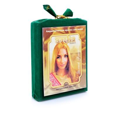 Травяная краска для волос с лечебным эффектом (золотой блонд) ааша