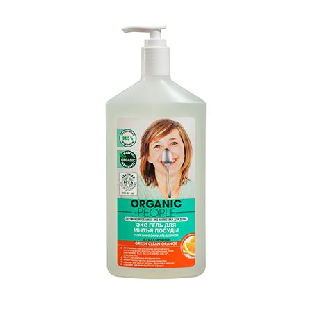 Эко гель для мытья посуды с органическим апельсином green clean orange organic people (Organic People)