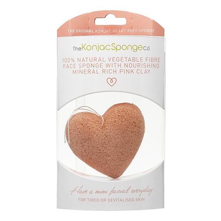 Спонж конняку для лица сердце с розовой глиной the konjac sponge (The Konjac Sponge Company)
