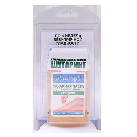 Набор для шугаринга (сахарная паста в картридже средняя 100 г. + полоски для депиляции) start epil aravia
