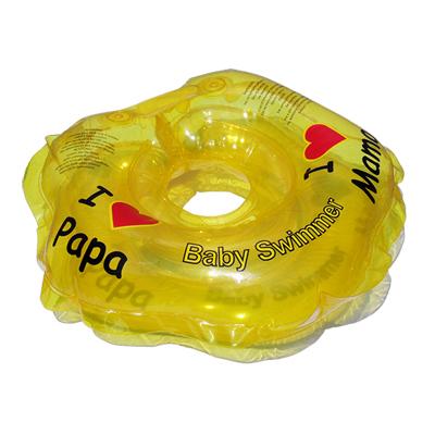 Детский надувной круг для купания желтый полноцветный baby swimmer (Baby Swimmer)