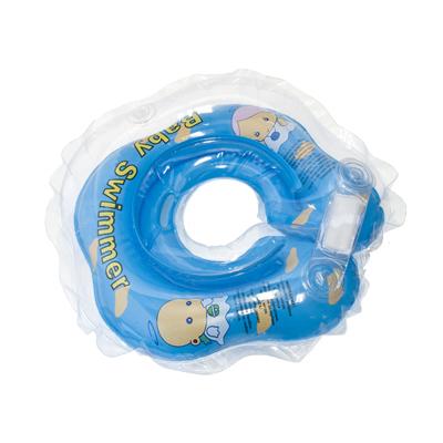 Детский надувной круг для купания голубой полуцветный baby swimmer (Baby Swimmer)
