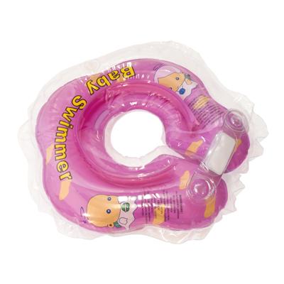 Детский надувной круг для купания розовый полуцветный baby swimmer (Baby Swimmer)