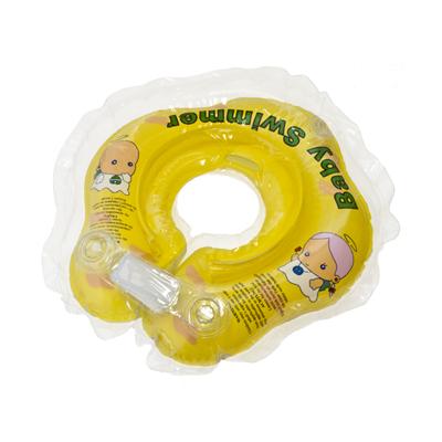 Детский надувной круг для купания жёлтый полуцветный baby swimmer (Baby Swimmer)
