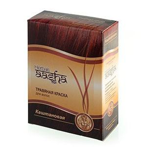 Травяная краска для волос на основе индийской хны (цвет каштановый) ааша