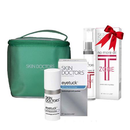 Подарочный набор для лица: крем от отеков под глазами eyetuck + крем t-zone control skin doctors