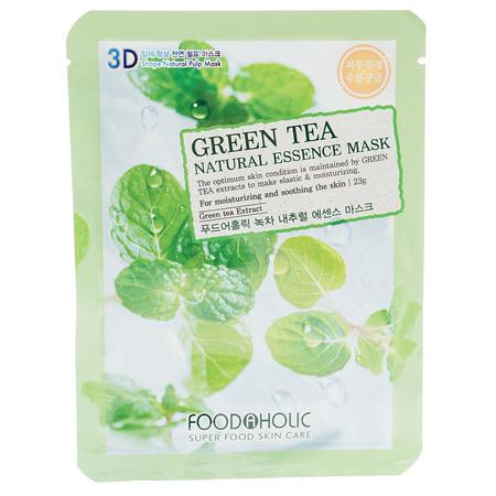 Тканевая 3d маска с натуральным экстрактом зеленого чая  foodaholic (FoodaHolic)