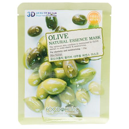 Тканевая 3d маска с натуральным экстрактом оливы для увлажнения и питания кожи foodaholic (FoodaHolic)