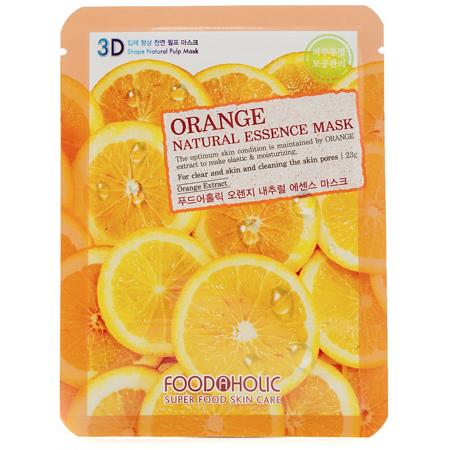 Тканевая 3d маска с экстрактом апельсина для сужения пор и улучшения цвета лица foodaholic (FoodaHolic)