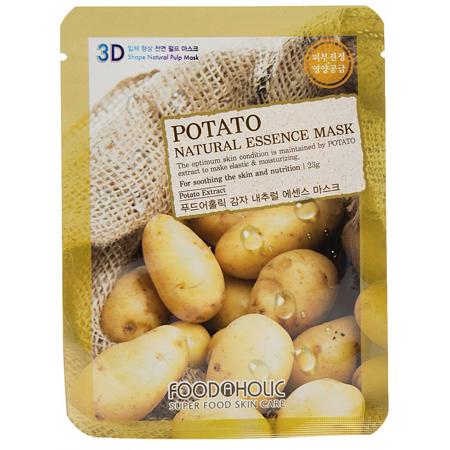 Тканевая 3d маска с экстрактом картофеля для питания и устранения отеков кожи foodaholic (FoodaHolic)