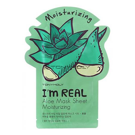 Тканевая маска для лица алоэ im real aloe mask sheet tony moly (Tony Moly)