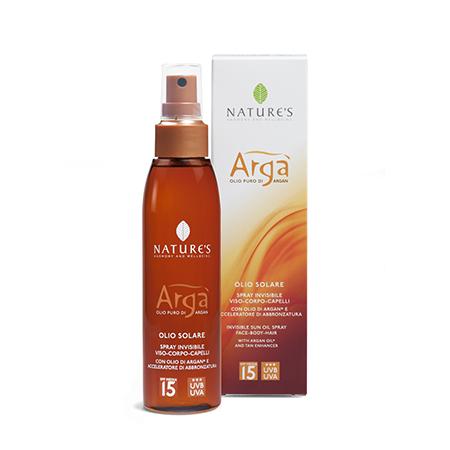 Arga масло спрей для лица, тела и волос spf-15 с арганой и эсхансером natures (Natures)