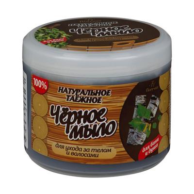Натуральное таежное мыло для бани и душа для ухода за телом и волосами черное floresan (Floresan)