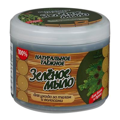 Натуральное таежное мыло для бани и душа для ухода за телом и волосами зеленое floresan