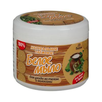 Натуральное таежное мыло для бани и душа для ухода за телом и волосами белое floresan